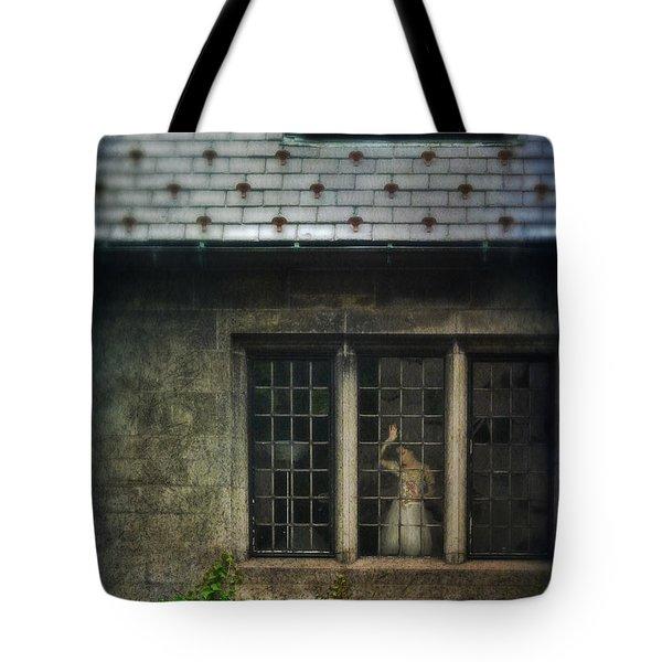 Lady By Window Of Tudor Mansion Tote Bag by Jill Battaglia