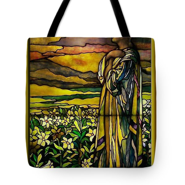Lady Stained Glass Window Tote Bag by Thomas Woolworth