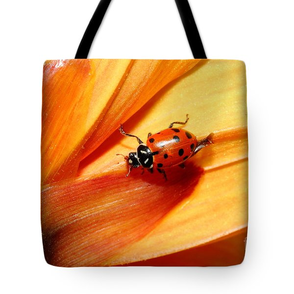 Ladybug On Orange Yellow Dahlia . 7d14686 Tote Bag by Wingsdomain Art and Photography