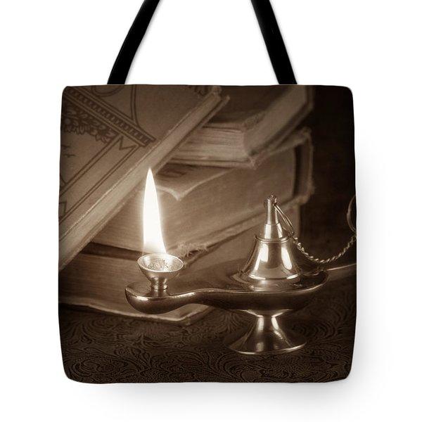 Lamp Of Learning Tote Bag by Tom Mc Nemar