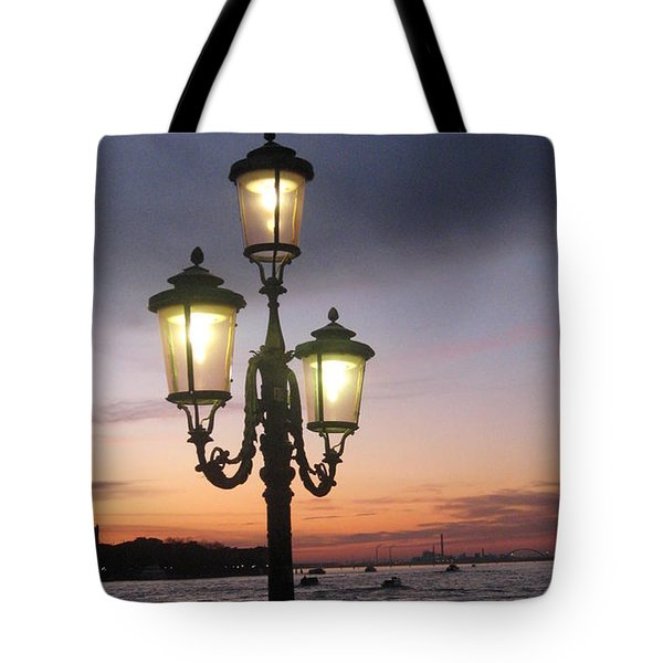 Lampost sunset in Venice Tote Bag by Catie Canetti