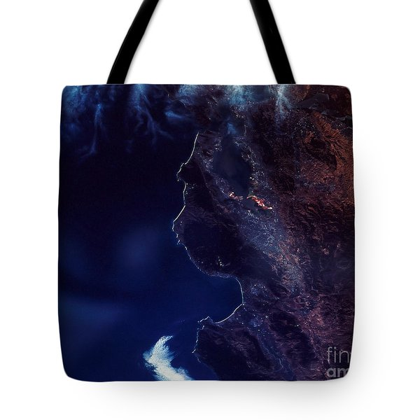 Land And Water From Satellite Tote Bag by Stocktrek Images