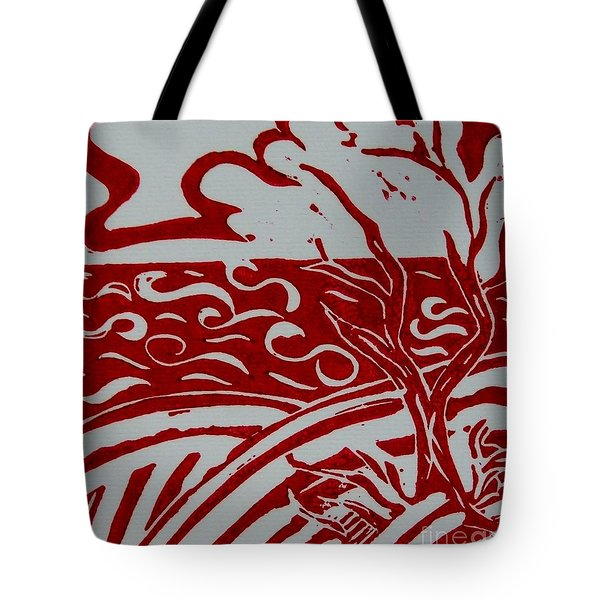 Land Sea Sky In Red and White Tote Bag by Caroline Street