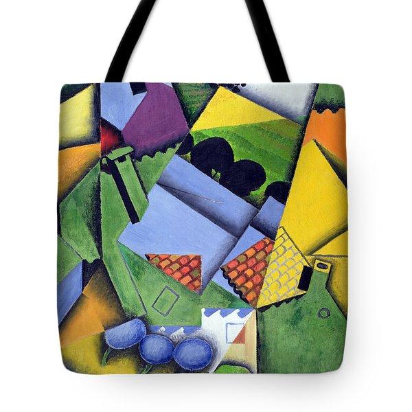 Landscape And Houses At Ceret Tote Bag by Juan Gris