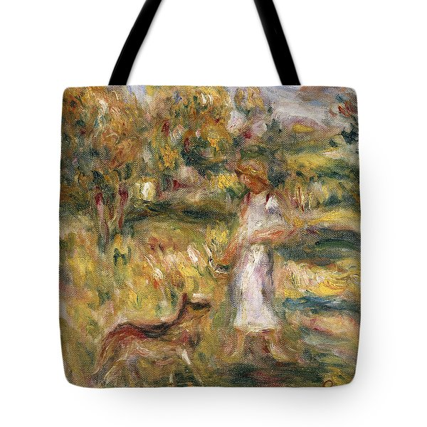 Landscape With A Woman In Blue Tote Bag by Pierre Auguste Renoir