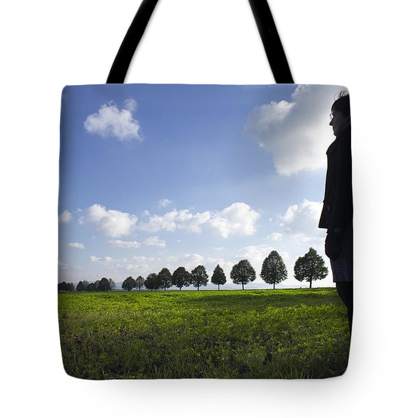 Landscape With Row Of Trees And Person Tote Bag by Matthias Hauser
