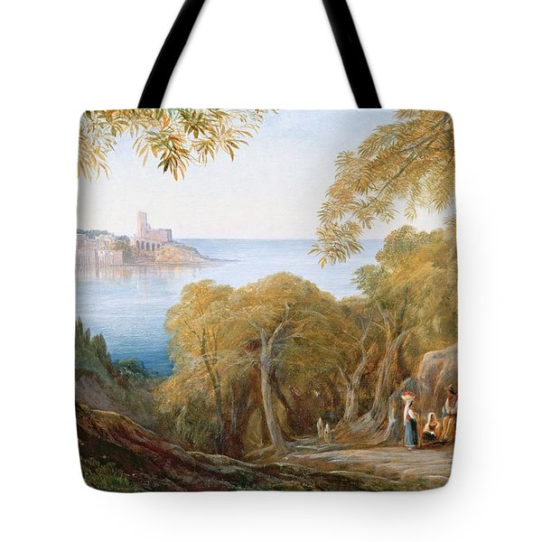 Landscape With View Of Lerici Tote Bag by Edward Lear
