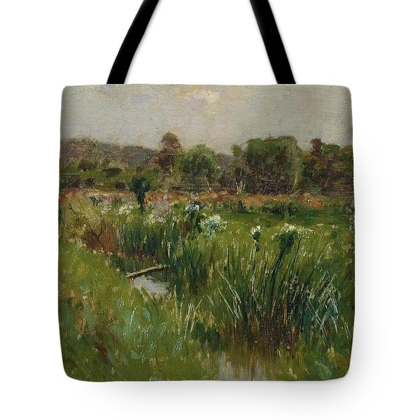 Landscape With Wild Irises Tote Bag by Bruce Crane
