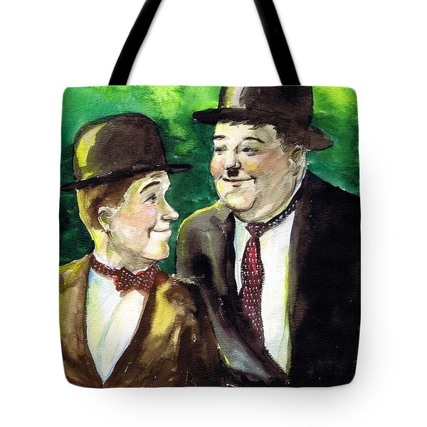 Laurel And Hardy Tote Bag by Mel Thompson