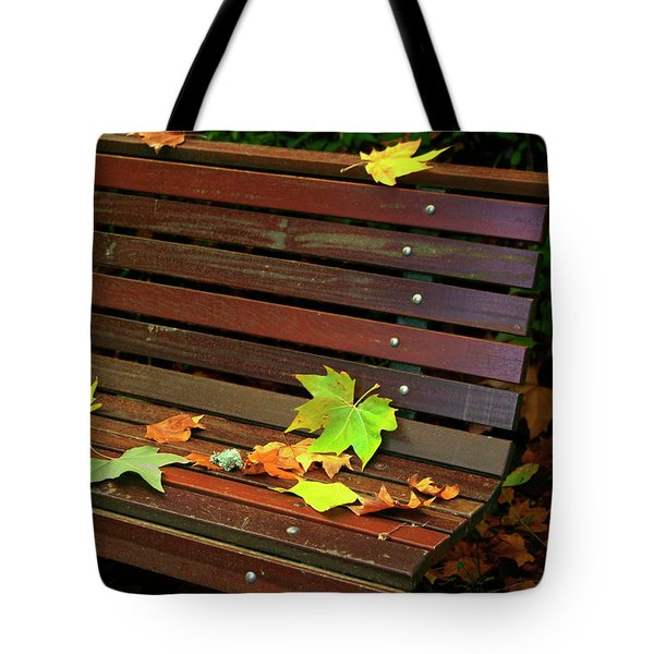 Leafs In Bench Tote Bag by Carlos Caetano