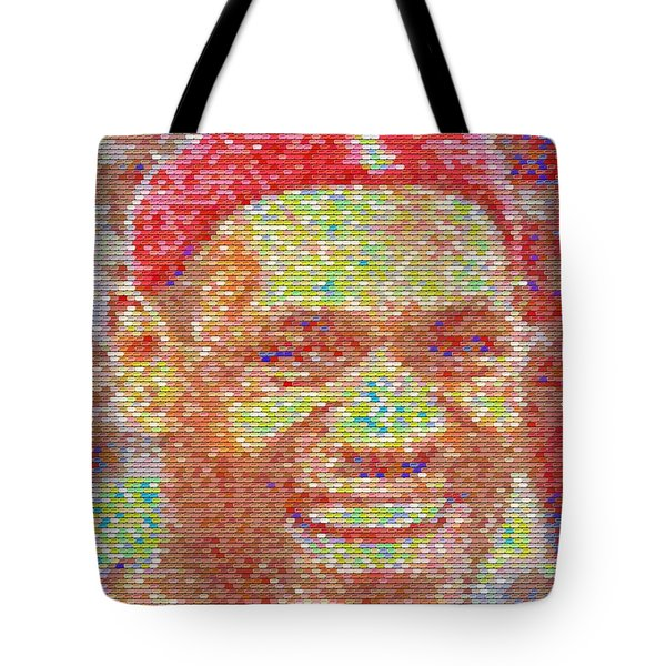Lebron James Pez Candy Mosaic Tote Bag by Paul Van Scott