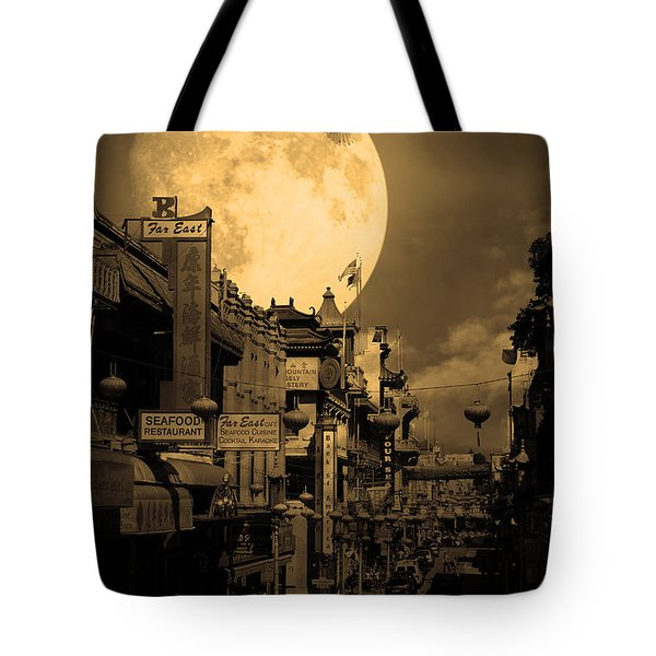 Legend Of The Great White Phoenix Of Chinatown . 7d7172 . Sepia Tote Bag by Wingsdomain Art and Photography
