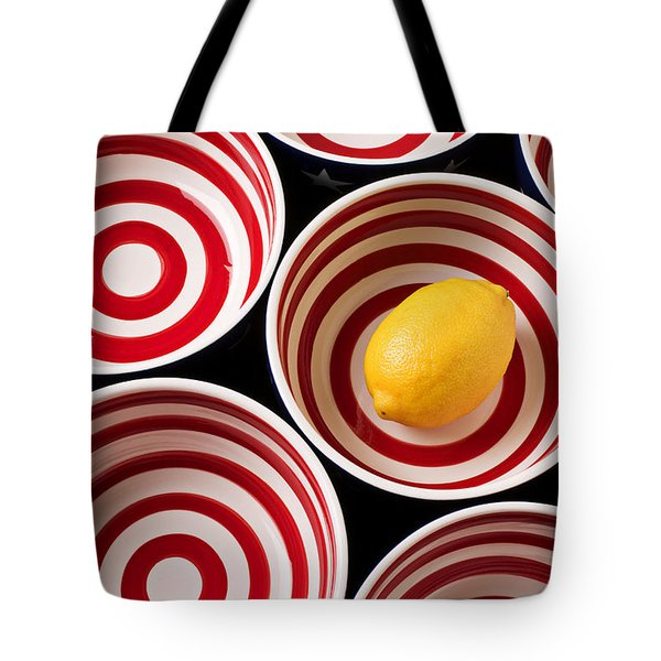 Lemon In Red And White Bowl  Tote Bag by Garry Gay