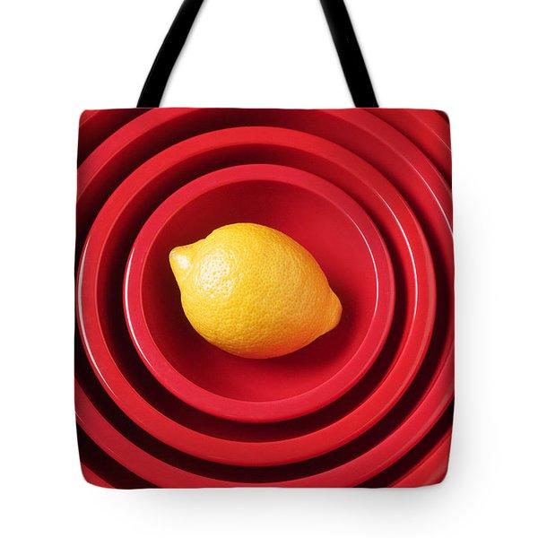 Lemon In Red Bowls Tote Bag by Garry Gay