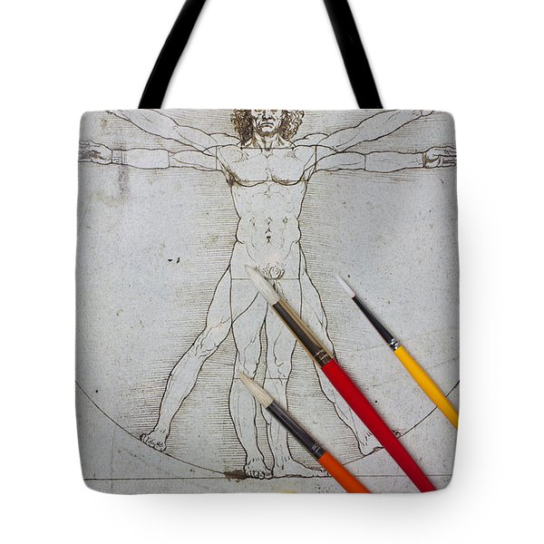 Leonardo Artwoork And Brushes Tote Bag by Garry Gay