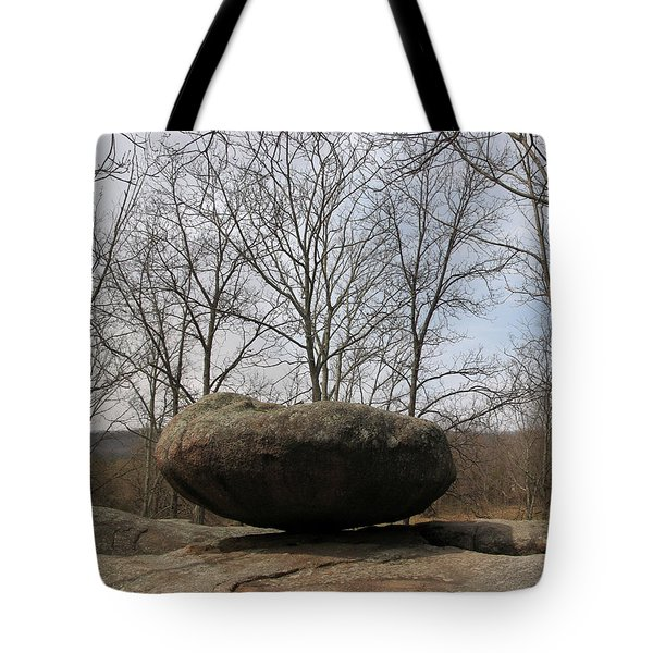 Lichen Covered Granite Boulder Balanced On Hill Tote Bag by Adam Long