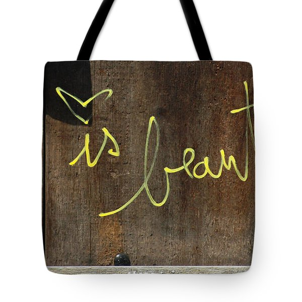 Life is Beautiful Graf Tote Bag by AdSpice Studios