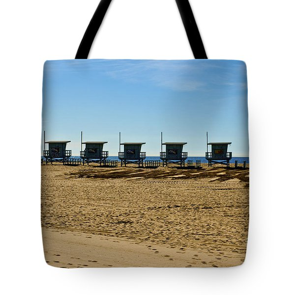 Lifeguard Stand's On The Beach Tote Bag by Micah May