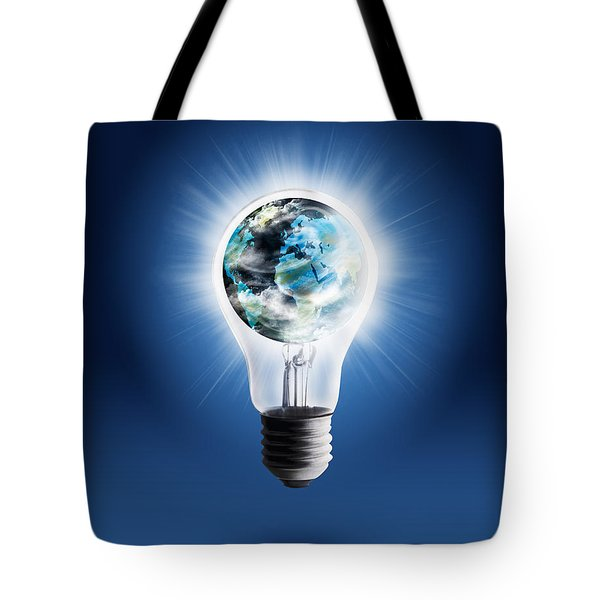 light bulb with globe Tote Bag by Setsiri Silapasuwanchai