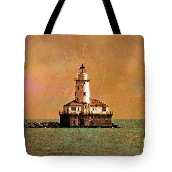 Lighthouse Off Navy Pier Tote Bag by Mary Machare