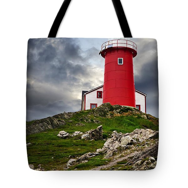 Lighthouse On Hill Tote Bag by Elena Elisseeva