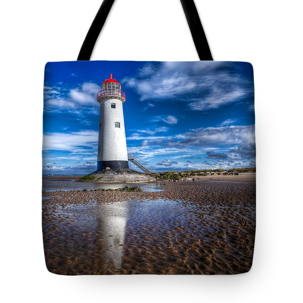 Lighthouse Reflections Tote Bag by Adrian Evans