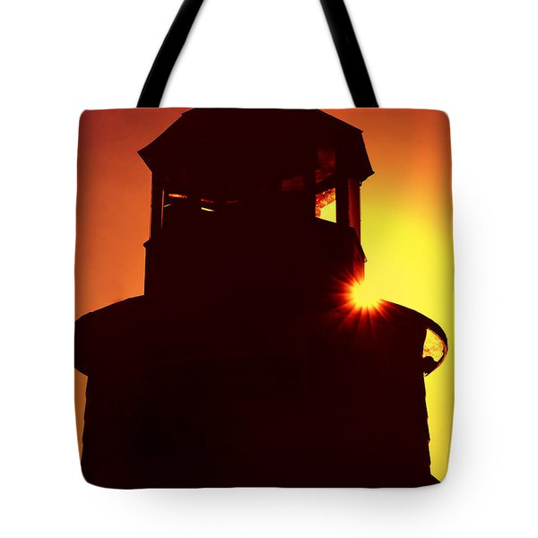 Lighthouse Sunset Tote Bag by Joann Vitali