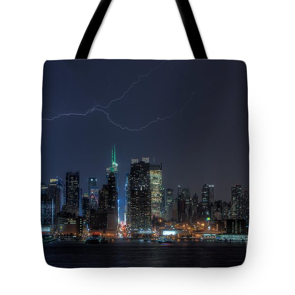 Lightning Over New York City IX Tote Bag by Clarence Holmes