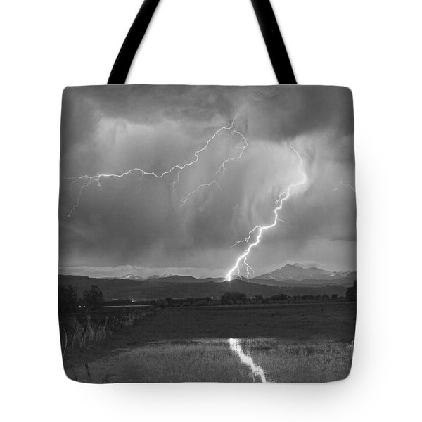Lightning Striking Longs Peak Foothills 2bw Tote Bag by James BO  Insogna