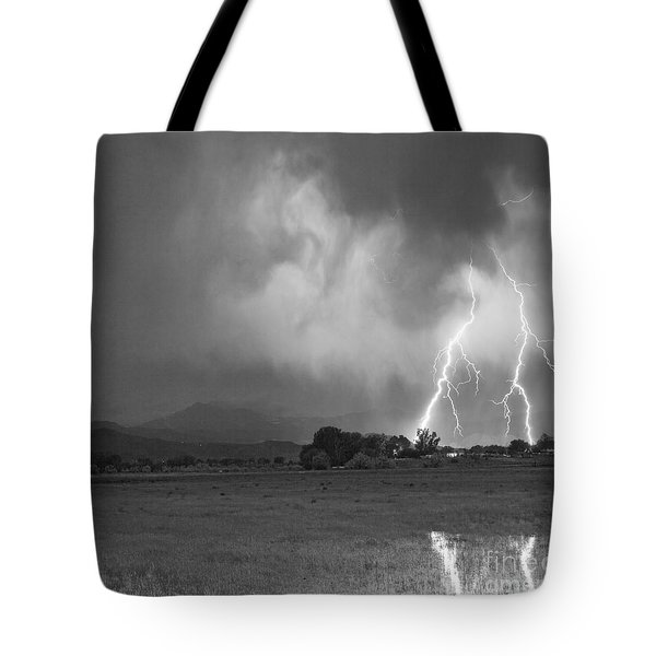 Lightning Striking Longs Peak Foothills 8CBW Tote Bag by James BO  Insogna