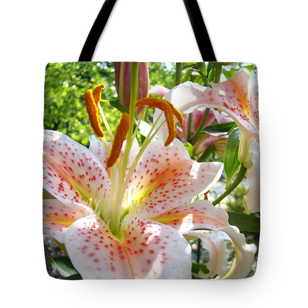 Lily Flowers Floral prints Photography Orange Lilies Tote Bag by Baslee Troutman