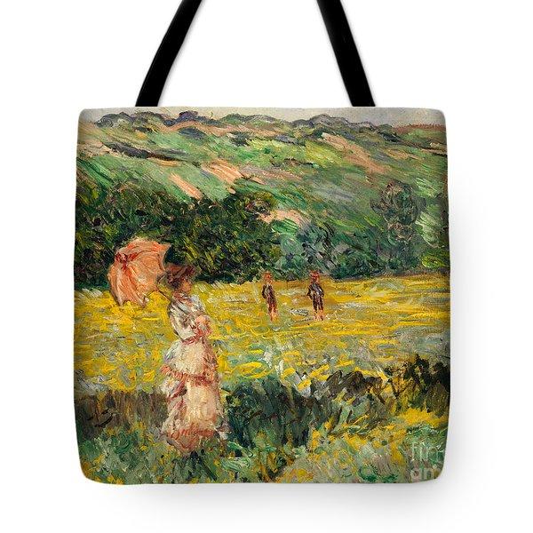 Limetz Meadow Tote Bag by Claude Monet
