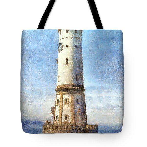 Lindau Lighthouse In Germany Tote Bag by Nikki Marie Smith