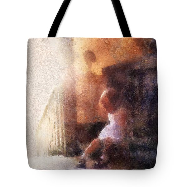 Little Girl Thinking Tote Bag by Nora Martinez