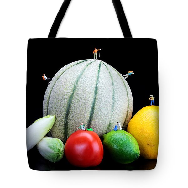 Little People Hiking On Fruits Tote Bag by Paul Ge