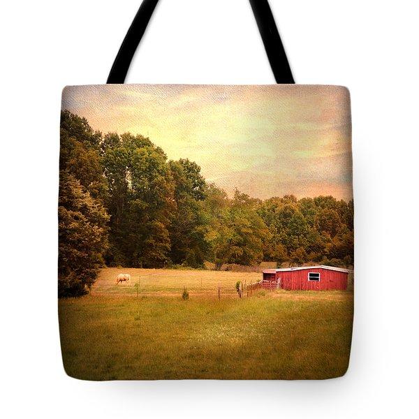 Little Red Barn Tote Bag by Jai Johnson