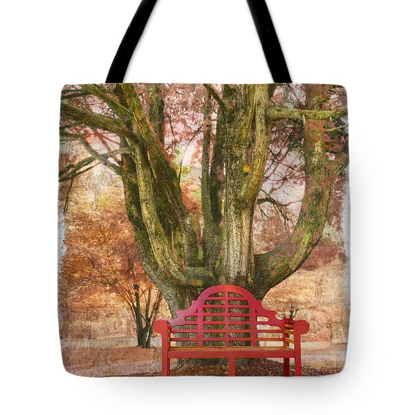 Little Red Bench Tote Bag by Debra and Dave Vanderlaan