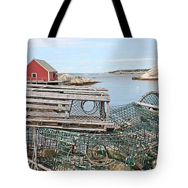 Lobster Pots Tote Bag by Kristin Elmquist