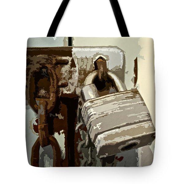 Lock And Chain Tote Bag by Gwyn Newcombe