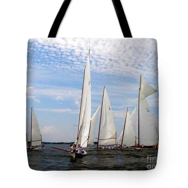 Log Canoes Tote Bag by Lainie Wrightson