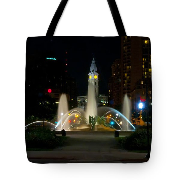 Logan Circle Fountain With City Hall At Night Tote Bag by Bill Cannon