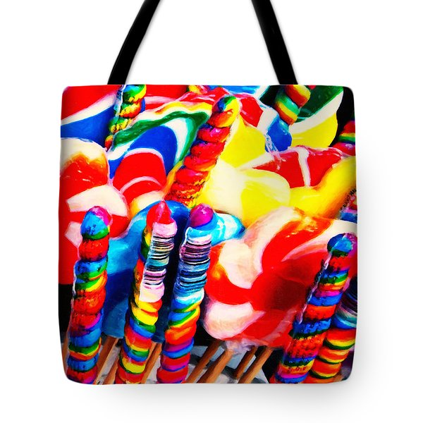 Lollipops - Painterly - Red Tote Bag by Wingsdomain Art and Photography