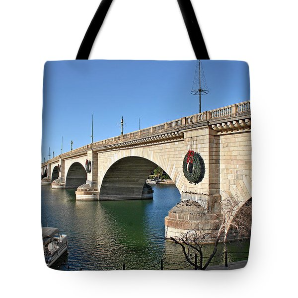London Bridge Lake Havasu City - The World's Largest Antique Tote Bag by Christine Till