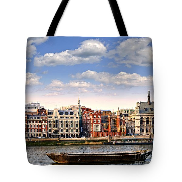London Skyline From Thames River Tote Bag by Elena Elisseeva
