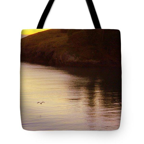 Lone Bird At Rosario Beach Point Tote Bag by Randall Thomas Stone