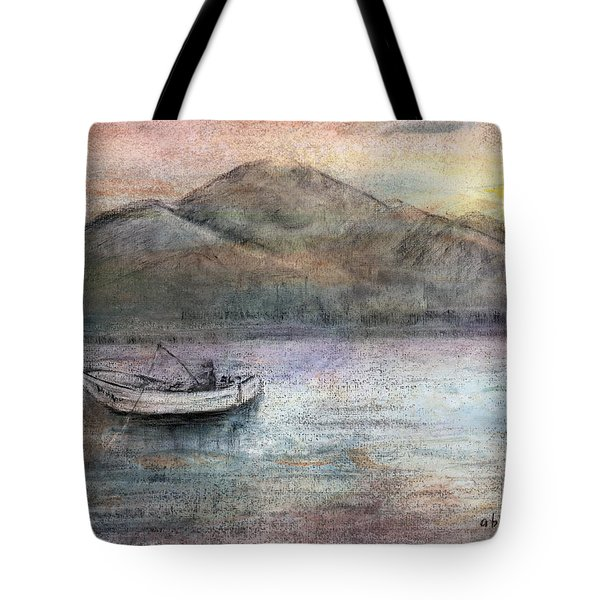 Lone Fisherman Tote Bag by Arline Wagner