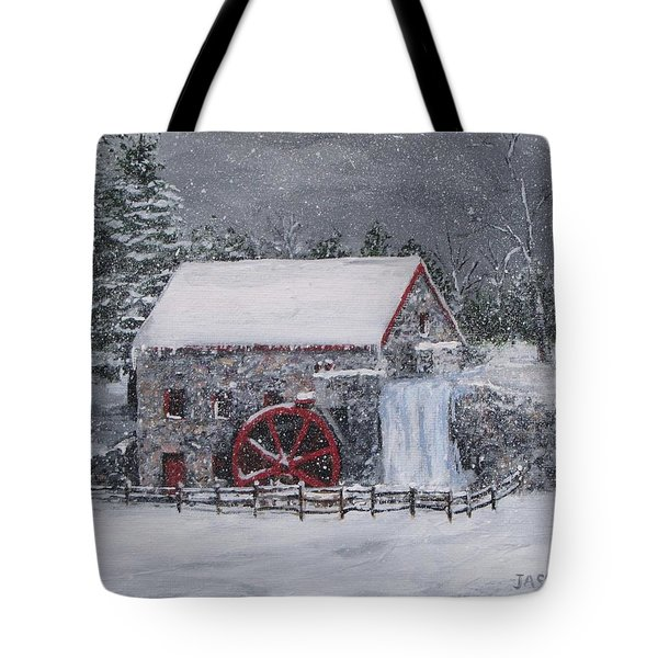 Longfellow's Grist Mill In Winter Tote Bag by Jack Skinner