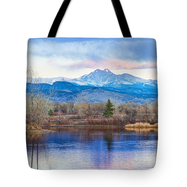 Longs Peak And Mt Meeker Sunrise At Golden Ponds Tote Bag by James BO  Insogna