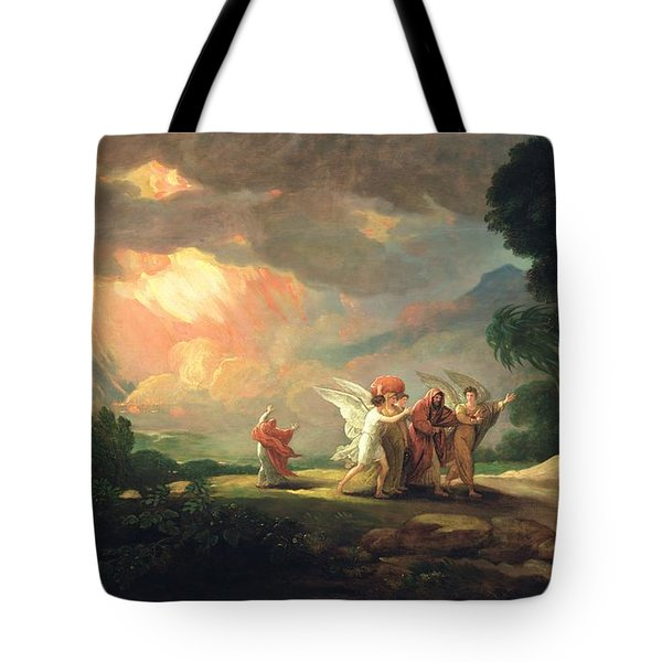 Lot Fleeing From Sodom Tote Bag by Benjamin West