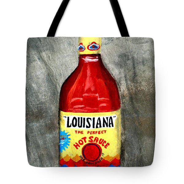 Louisiana Hot Sauce Tote Bag by Elaine Hodges